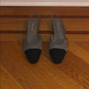 Chanel Slingback Cap-Toe Flat
